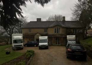3 Mardan removal vans carrying out a removal at a country house in Bath