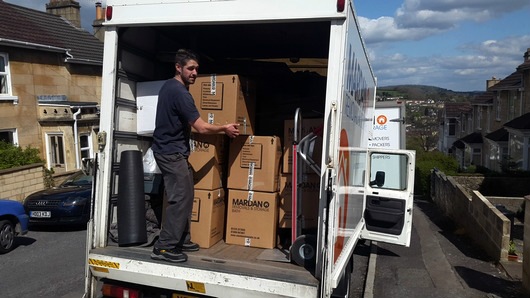 Unpacking a removals van in Bath