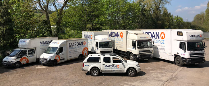 Our removals and storage vehicles in Bath